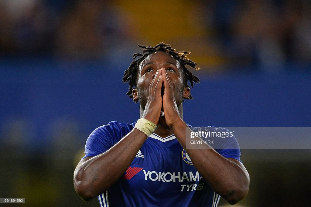 TOPSHOT - Chelsea's Belgian striker Michy Batshuayi reacts during the English League Cup second round football match between Chelsea and Bristol Rovers at Stamford Bridge in London on August 23, 2016. / AFP / GLYN KIRK / RESTRICTED TO EDITORIAL USE. No use with unauthorized audio, video, data, fixture lists, club/league logos or 'live' services. Online in-match use limited to 75 images, no video emulation. No use in betting, games or single club/league/player publications. /