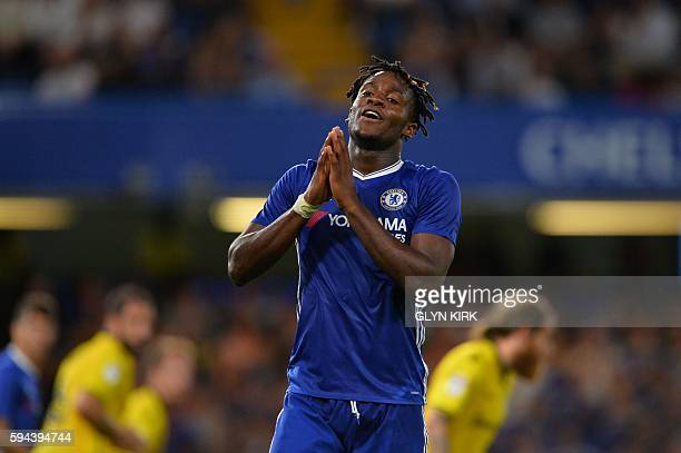 Chelsea's Belgian striker Michy Batshuayi reacts during the English League Cup second round football match between Chelsea and Bristol Rovers at...