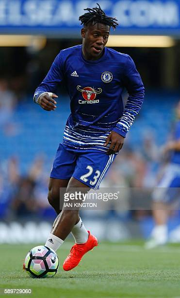 Chelsea's Belgian striker Michy Batshuayi warms up ahead of the English Premier League football match between Chelsea and West Ham United at Stamford...