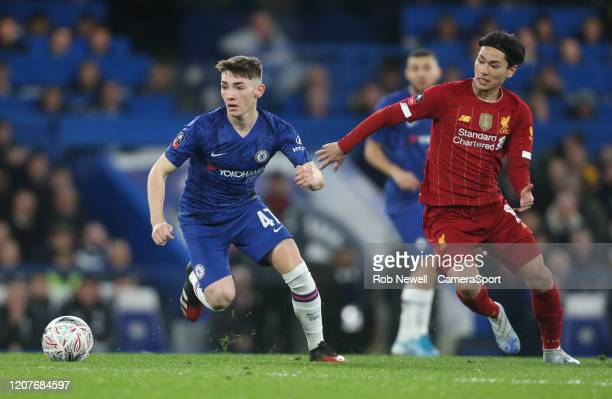 Chelsea's Billy Gilmour and Liverpool's Takumi Minamino during the FA Cup Fifth Round match between Chelsea and Liverpool at Stamford Bridge on March...