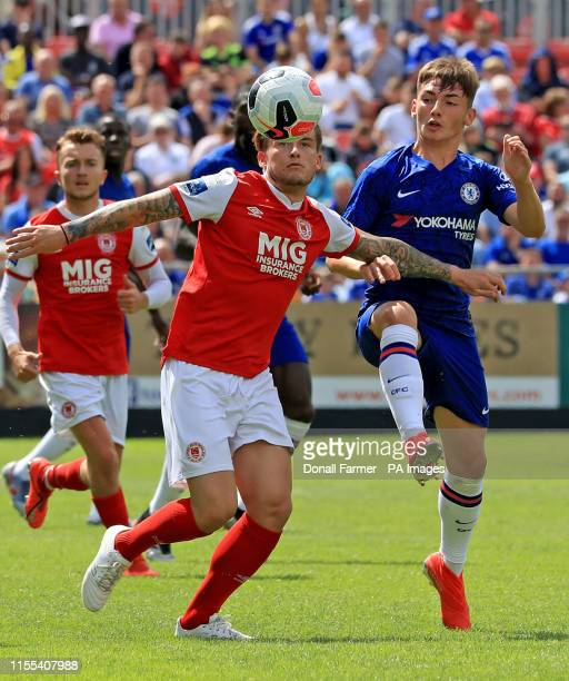 Chelsea's Billy Gilmour with Rhys McCabe of St Patrick's during the preseason friendly match at Richmond Park Stadium Dublin