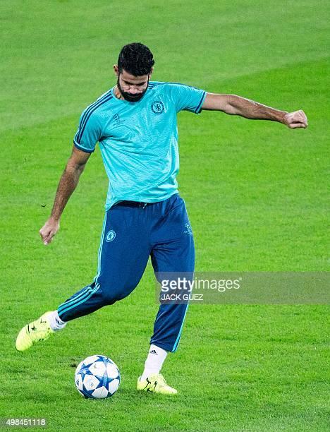Chelsea's Brazilborn Spanish striker Diego Costa takes part in a training session at the Sammy Ofer Stadium in the Israeli coastal city of Haifa on...