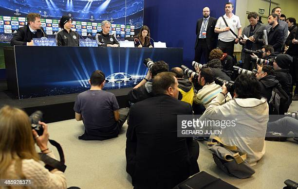 Chelsea's Brazilian defender David Luiz and Chelsea's Portuguese manager Jose Mourinho attend a press conference on the eve of the UEFA Champions...