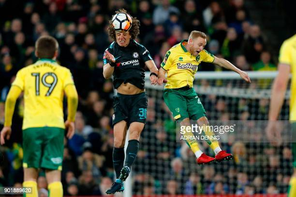TOPSHOT Chelsea's Brazilian defender David Luiz beats Norwich City's English midfielder Alex Pritchard in the air during the English FA Cup third...
