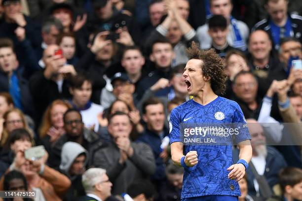 TOPSHOT Chelsea's Brazilian defender David Luiz celebrates scoring his team's second goal during the English Premier League football match between...