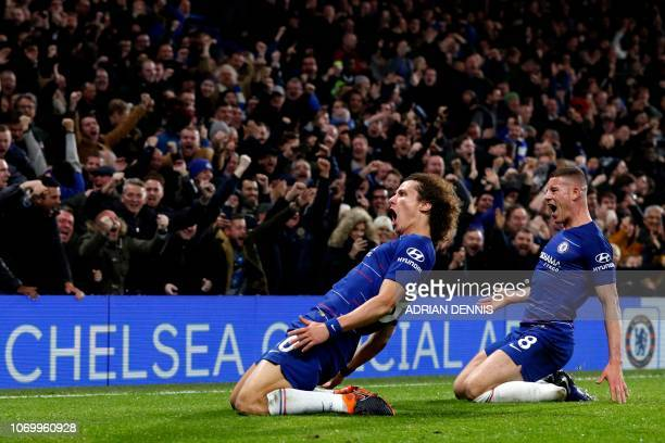TOPSHOT Chelsea's Brazilian defender David Luiz celebrates with Chelsea's English midfielder Ross Barkley after scoring their second goal during the...