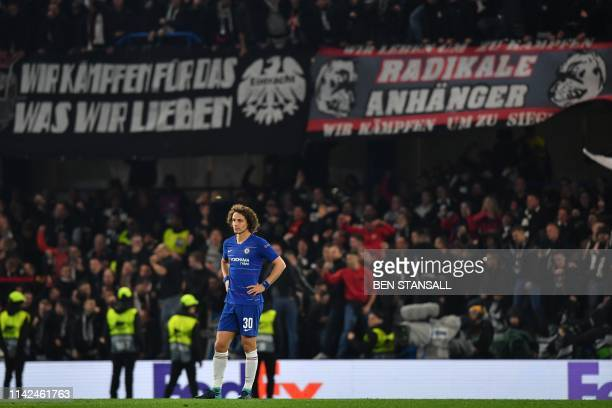 Chelsea's Brazilian defender David Luiz reacts to Eintr Frankfurt's Serbian forward Luka Jovic goal during the UEFA Europa League semifinal second...