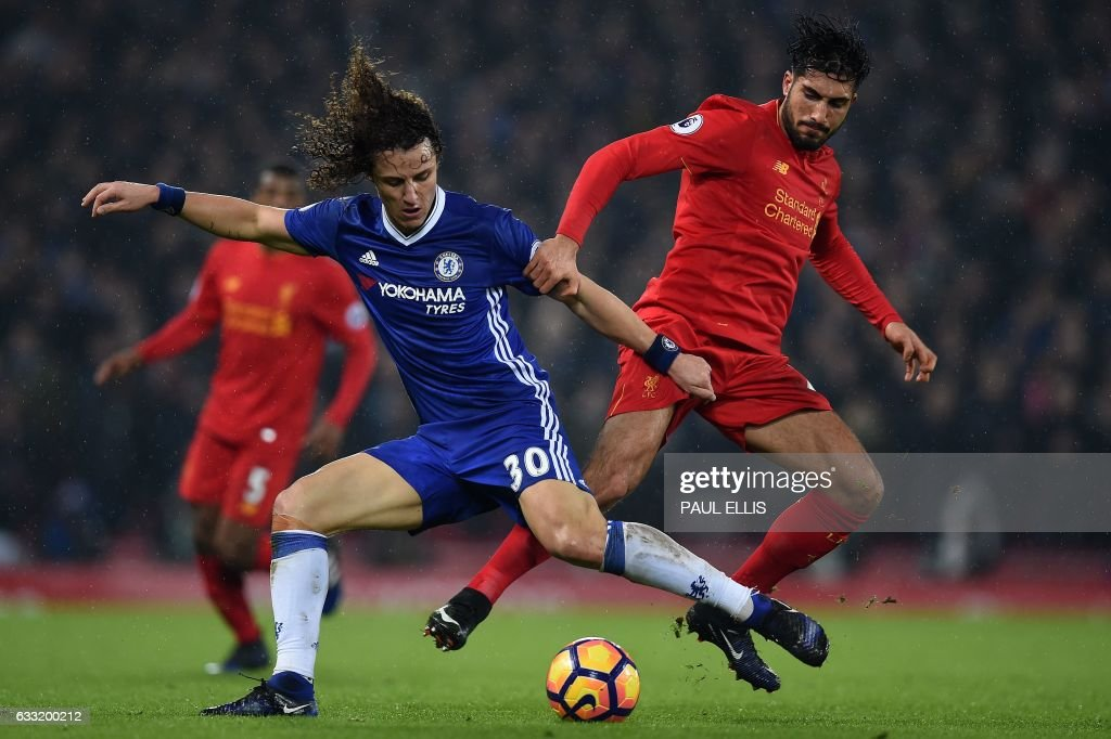 TOPSHOT - Chelsea's Brazilian defender David Luiz (L) vies with Liverpool's German midfielder Emre Can during the English Premier League football match between Liverpool and Chelsea at Anfield in Liverpool, north west England on January 31, 2017. / AFP / PAUL ELLIS / RESTRICTED TO EDITORIAL USE. No use with unauthorized audio, video, data, fixture lists, club/league logos or 'live' services. Online in-match use limited to 75 images, no video emulation. No use in betting, games or single club/league/player publications. /