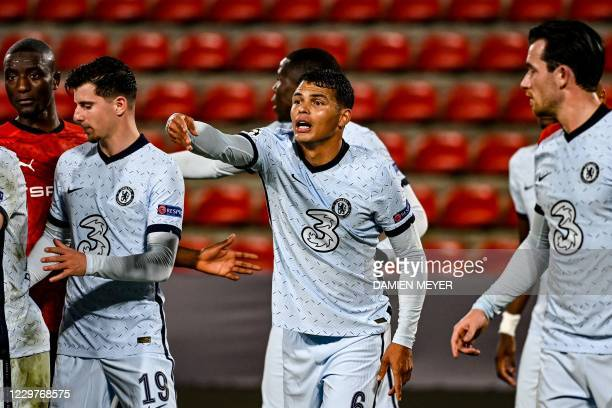 Chelsea's Brazilian defender Thiago Silva reacts during the UEFA Champions League Group E football match between Stade Rennais FC and Chelsea FC at...
