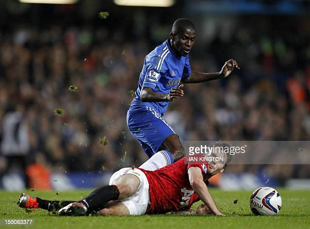 Chelsea's Brazilian midfielder Ramires vies with Manchester United's English midfielder Nick Powell during the English League Cup Fourth Round...