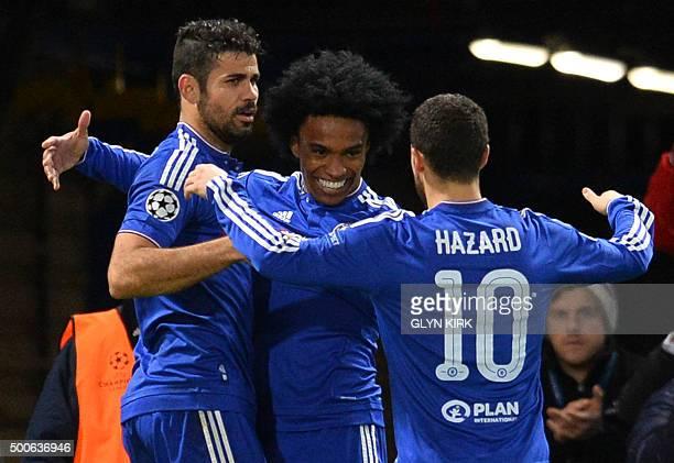 Chelsea's Brazilian midfielder Willian celebrates with Chelsea's Brazilianborn Spanish striker Diego Costa and Chelsea's Belgian midfielder Eden...