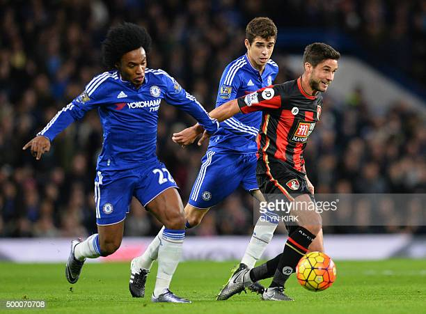 Chelsea's Brazilian midfielder Willian holds Bournemouth's South Africanborn English midfielder Andrew Surman during the English Premier League...