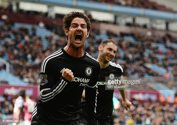 Chelsea's Brazilian striker Alexandre Pato celebrates after scoring from the penalty spot during the English Premier League football match between...
