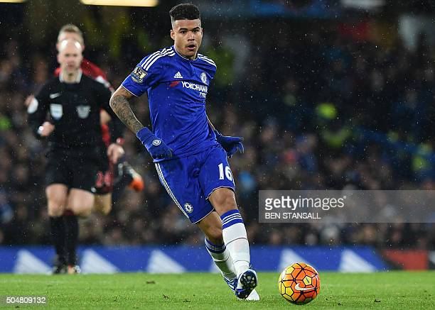Chelsea's Brazilian striker Kenedy passes the ball during the English Premier League football match between Chelsea and West Bromwich Albion at...