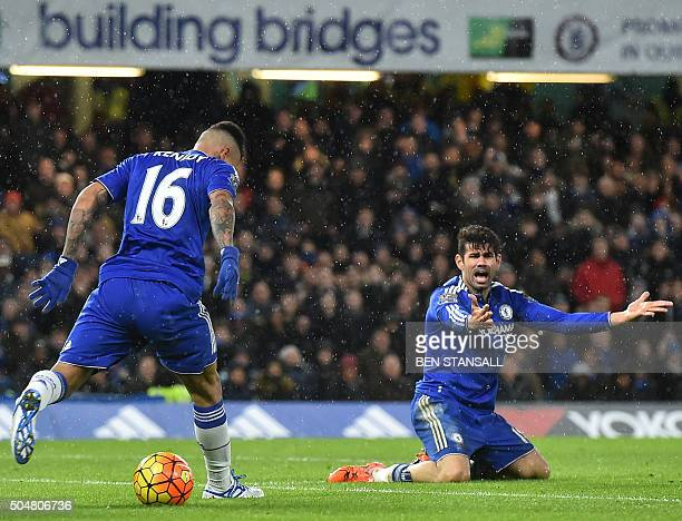 Chelsea's Brazilianborn Spanish striker Diego Costa appeals during the English Premier League football match between Chelsea and West Bromwich Albion...
