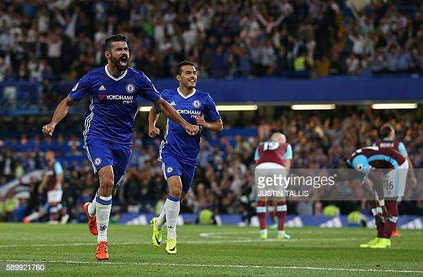 Chelsea's Brazilianborn Spanish striker Diego Costa celebrates after scoring their second goal during the English Premier League football match...