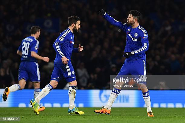 Chelsea's Brazilianborn Spanish striker Diego Costa celebrates scoring their first goal to equalise 11 during the UEFA Champions League round of 16...