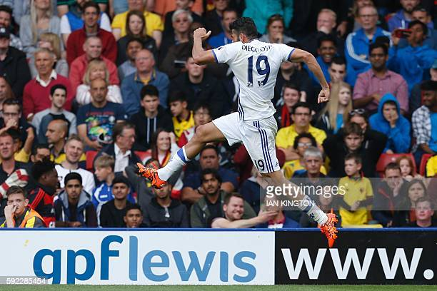 Chelsea's Brazilianborn Spanish striker Diego Costa celebrates scoring their second goal during the English Premier League football match between...