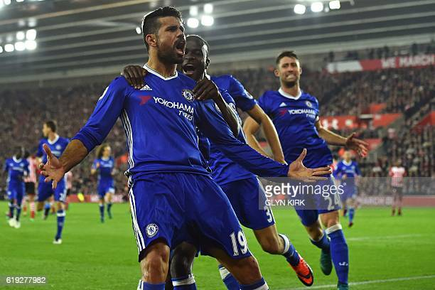 Chelsea's Brazilianborn Spanish striker Diego Costa celebrates scoring their second goal during the English Premier League football match between...