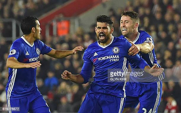 Chelsea's Brazilianborn Spanish striker Diego Costa celebrates scoring their second goal with Chelsea's Spanish midfielder Pedro and Chelsea's...