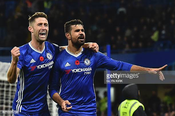 Chelsea's Brazilianborn Spanish striker Diego Costa celebrates with Chelsea's English defender Gary Cahill after scoring their third goal during the...
