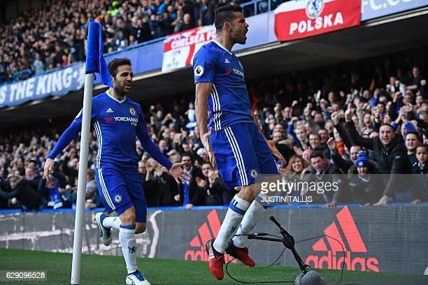 Chelsea's Brazilianborn Spanish striker Diego Costa celebrates with Chelsea's Spanish midfielder Cesc Fabregas after scoring the opening goal of the...