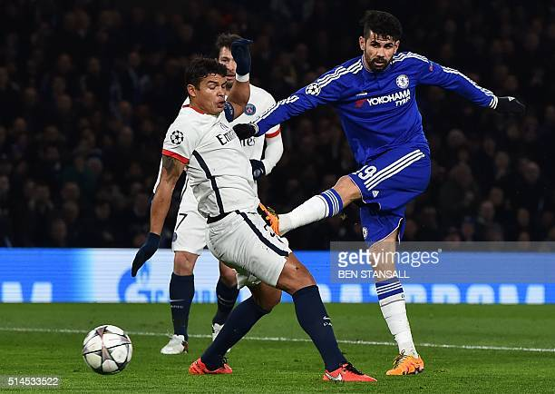 Chelsea's Brazilianborn Spanish striker Diego Costa gets his shot past Paris SaintGermain's Brazilian defender Thiago Silva to score their first goal...