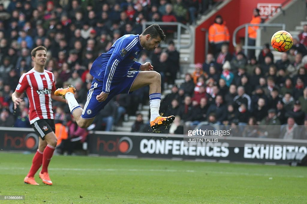 Chelsea's Brazilian-born Spanish striker Diego Costa has an unsuccessful attempt on goal during the English Premier League football match between Southampton and Chelsea at St Mary's Stadium in Southampton, southern England on February 27, 2016. Chelsea won the game 2-1. / AFP / JUSTIN TALLIS / RESTRICTED TO EDITORIAL USE. No use with unauthorized audio, video, data, fixture lists, club/league logos or 'live' services. Online in-match use limited to 75 images, no video emulation. No use in betting, games or single club/league/player publications. /