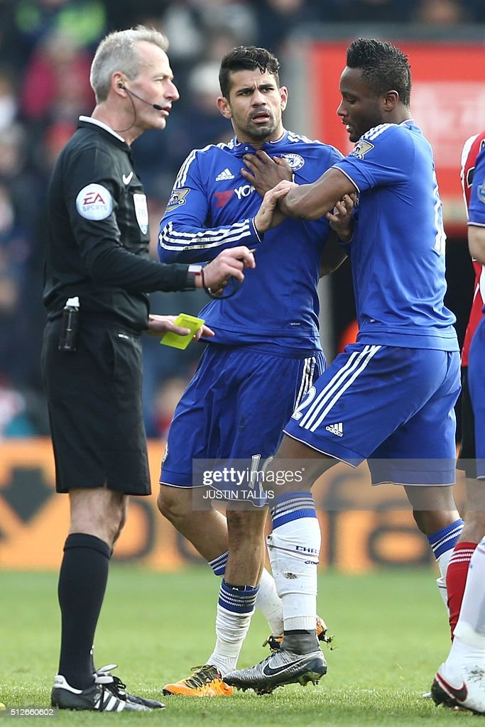 Chelsea's Brazilian-born Spanish striker Diego Costa is calmed by Chelsea's Nigerian midfielder John Obi Mikel (R) during the English Premier League football match between Southampton and Chelsea at St Mary's Stadium in Southampton, southern England on February 27, 2016. Chelsea won the game 2-1. / AFP / JUSTIN TALLIS / RESTRICTED TO EDITORIAL USE. No use with unauthorized audio, video, data, fixture lists, club/league logos or 'live' services. Online in-match use limited to 75 images, no video emulation. No use in betting, games or single club/league/player publications. /