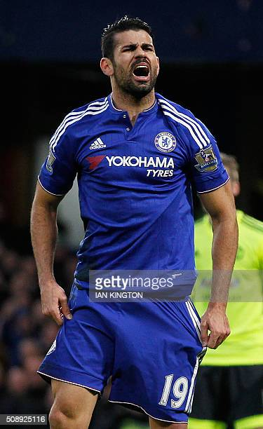 Chelsea's Brazilianborn Spanish striker Diego Costa reacts after missing a goal scoring opportunity during the English Premier League football match...