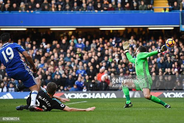 Chelsea's Brazilianborn Spanish striker Diego Costa shoots past West Bromwich Albion's English goalkeeper Ben Foster to score the opening goal of the...