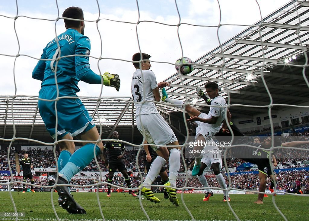 TOPSHOT - Chelsea's Brazilian-born Spanish striker Diego Costa (R) shoots to score their second goal during the English Premier League football match between Swansea City and Chelsea at The Liberty Stadium in Swansea, south Wales on September 11, 2016. The game finished 2-2. / AFP / Adrian DENNIS / RESTRICTED TO EDITORIAL USE. No use with unauthorized audio, video, data, fixture lists, club/league logos or 'live' services. Online in-match use limited to 75 images, no video emulation. No use in betting, games or single club/league/player publications. /