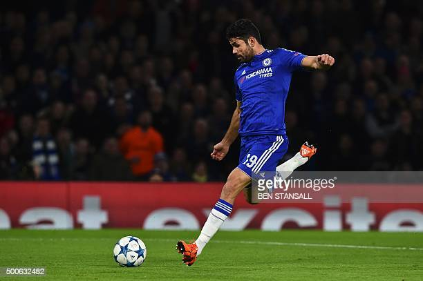 Chelsea's Brazilianborn Spanish striker Diego Costa shoots to see his shot rebound off Porto's Spanish goalkeeper Iker Casillas and Porto's Spanish...