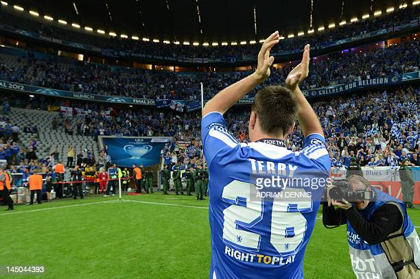 Chelsea's British defender John Terry celebrates after the UEFA Champions League final football match between FC Bayern Muenchen and Chelsea FC on...