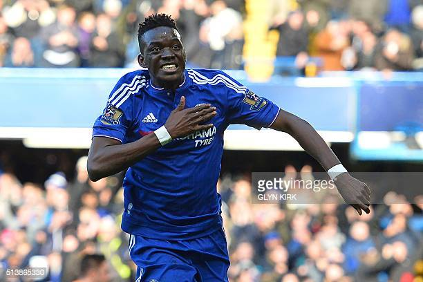 Chelsea's Burkina Faso midfielder Bertrand Traore celebrates after scoring the opening goal of the English Premier League football match between...