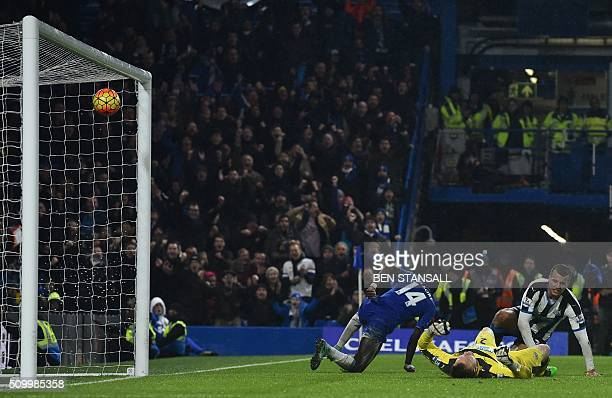 Chelsea's Burkina Faso midfielder Bertrand Traore scores their fifth goal during the English Premier League football match between Chelsea and...