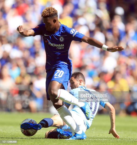 Chelsea's Callum HudsonOdoi and Manchester City's Bernardo Silva battle for the ball during the Community Shield match at Wembley Stadium London