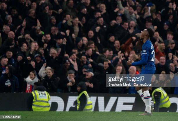 Chelsea's Callum HudsonOdoi celebrates his side's second goal during the Premier League match between Chelsea FC and Arsenal FC at Stamford Bridge on...