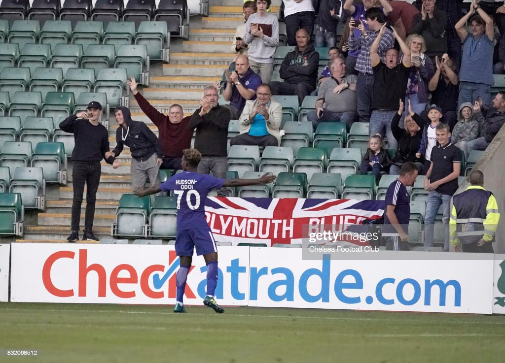 Chelsea's Callum Hudson-Odoi celebrates with Chelsea fans after scoring the second of his two goals in the Checkatrade Trophy match at Home Park on August 15, 2017 in Plymouth, England.