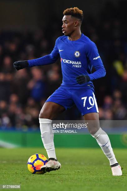 Chelsea's Callum HudsonOdoi controls the ball during the English Premier League football match between Chelsea and Bournemouth at Stamford Bridge in...