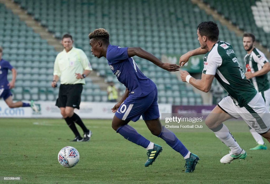 Chelsea's Callum Hudson-Odoi during the Checkatrade Trophy match at Home Park on August 15, 2017 in Plymouth, England.