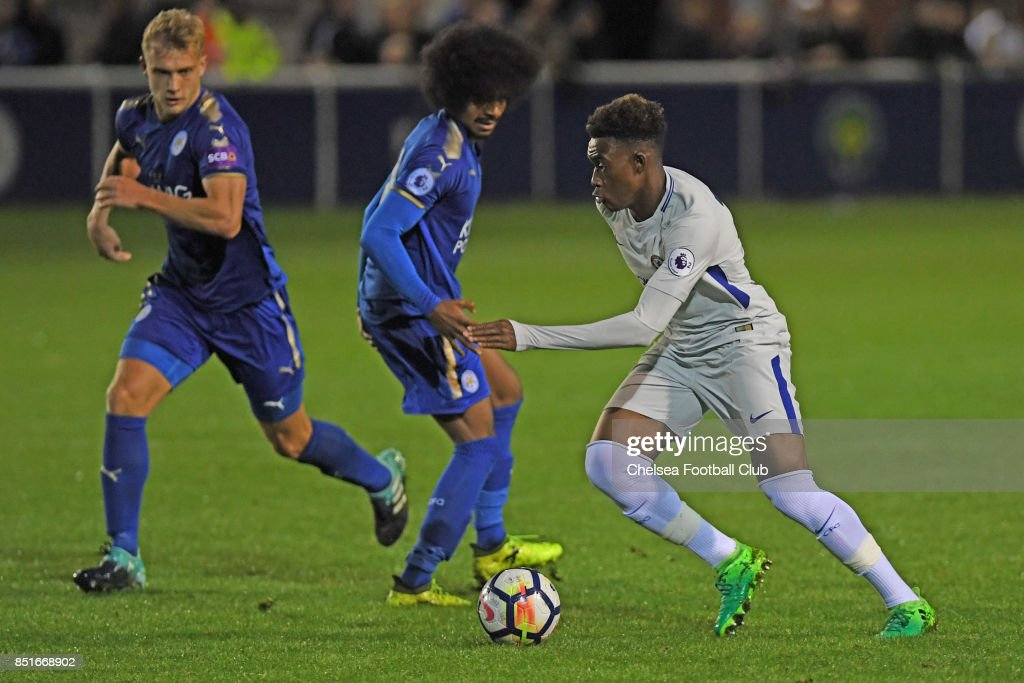 Chelsea's Callum Hudson-Odoi during the Premier League 2 match between Leicester City and Chelsea on September 22, 2017 in Leicester, England.