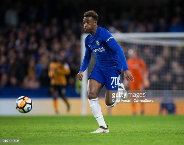 Chelsea's Callum HudsonOdoi in action during the The Emirates FA Cup Fifth Round match between Chelsea and Hull City at Stamford Bridge on February...