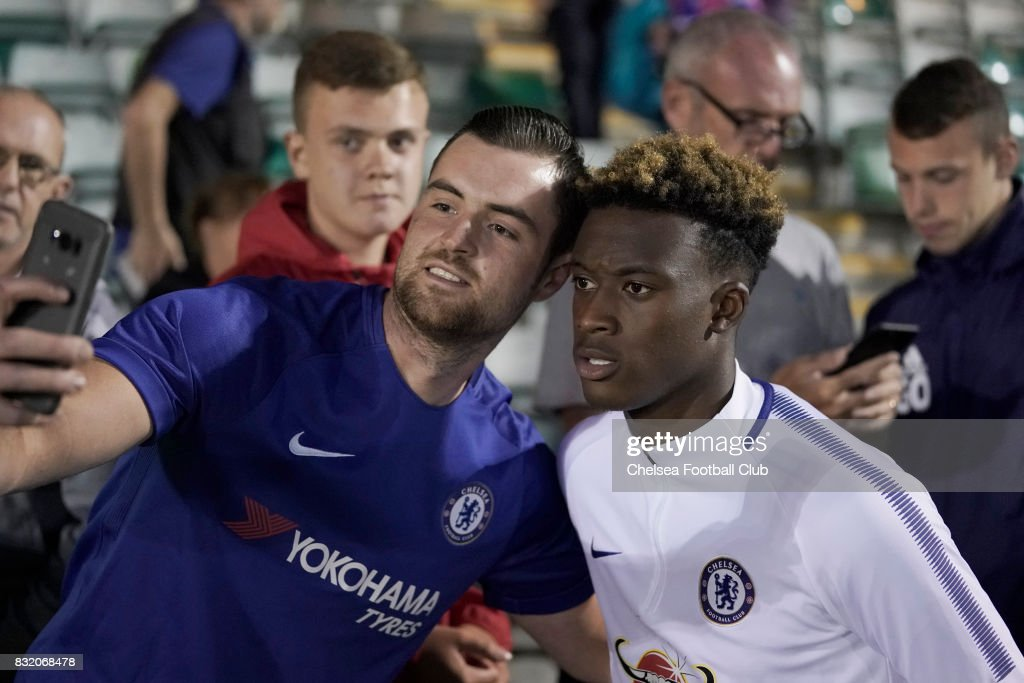 Chelsea's Callum Hudson-Odoi mixes with fans after the Checkatrade Trophy match at Home Park on August 15, 2017 in Plymouth, England.