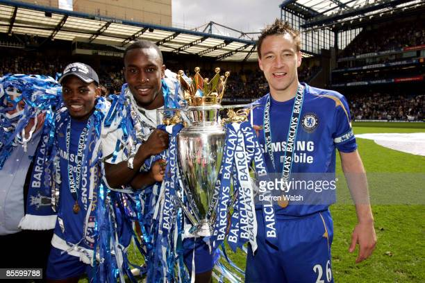 Chelsea's Carlton Cole and John Terry celebrate with the Premiership Trophy