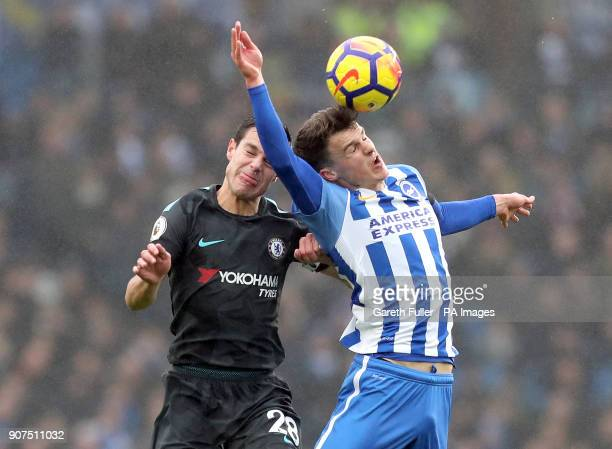 Chelsea's Cesar Azpilicueta and Brighton Hove Albion's Solly March battle for the ball during the Premier League match at the AMEX Stadium Brighton