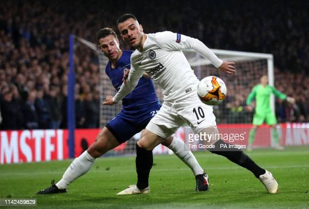 Chelsea's Cesar Azpilicueta and Eintracht Frankfurt's Filip Kostic battle for the ball during the UEFA Europa League Semi Final Second Leg at...