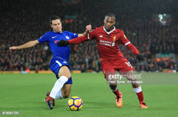 Chelsea's Cesar Azpilicueta and Liverpool's Daniel Sturridge battle for the ball during the Premier League match at Anfield Liverpool