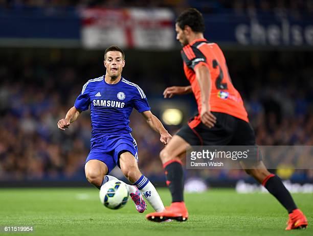 Chelsea's Cesar Azpilicueta and Real Sociedad's Alberto De la Bella battle for the ball