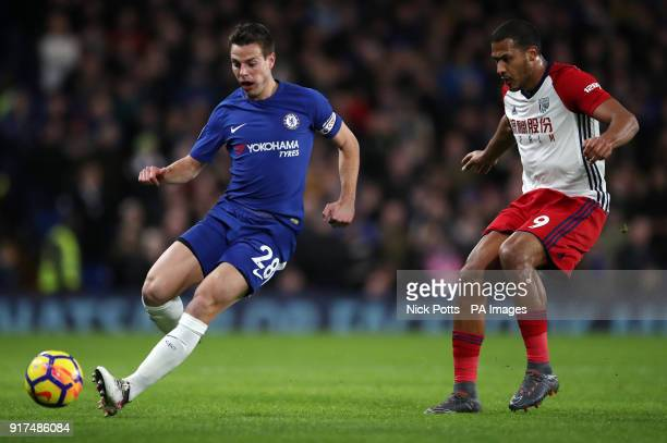 Chelsea's Cesar Azpilicueta and West Bromwich Albion's Salomon Rondon battle for the ball during the Premier League match at Stamford Bridge London